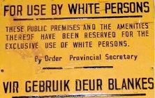 cartel del apartheid: sólo para blancos