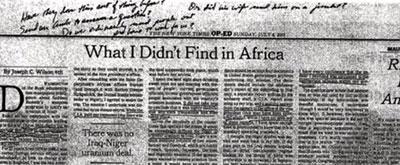 Las notas de Cheney en el artículo de Wilson