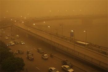 Tormenta de arena en Egipto. Foto: AP