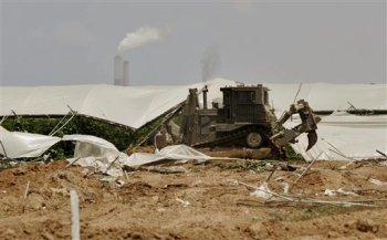 Un bulldozer destruye un invernadero palestino en el norte de Gaza. Foto: AP