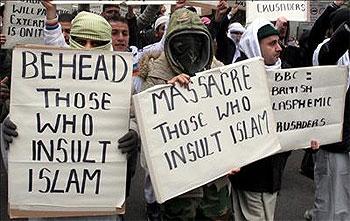 Pancarta: Decapita a los que insultan al Islam
